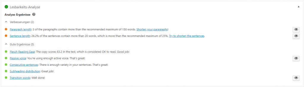 Screenshot Yoast: Lesbarkeits-Analyse