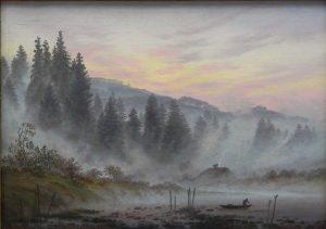 Gemälde. Ein Fischer bricht mit seinem Boot zum täglichen Angeln auf. Im Hintergrund sind große, im Nebel liegende Bäume.
