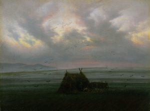 Gemälde. Ein Mann sitzt alleine mit seinem Karren unter einer kleinen Strohhütte von Nebel und Vögeln umgeben auf einem Feld