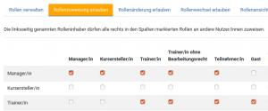 Bildschirmfoto: Einstellungen für die TrainerIn-Rolle